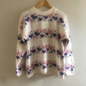 1990s Vintage Cabin Creek Heart Cotton Sweater